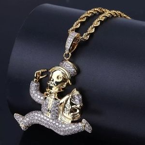 "Other - 14k Gold Money Bag Monopoly Man Pendant 24"" Chain"